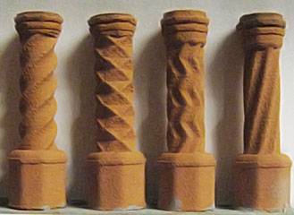 CH21S - 1:48 Set of four Tudor chimney pots (4)