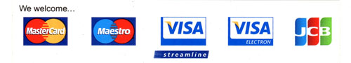 We welcome Mastercard, Maestro, Visa, Visa Electron and JCB